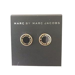 Marc Jacobs Black Gold Logo Earring Studs